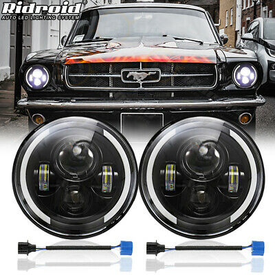 $45 • Buy Pair 7  Inch LED Headlights DRL Turn Signal Projector For Ford Mustang 1965-1973