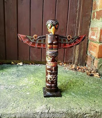 £20.99 • Buy Wooden Totem Pole 40cm Hand Carved Garden Ornament Statue Tribal Native American
