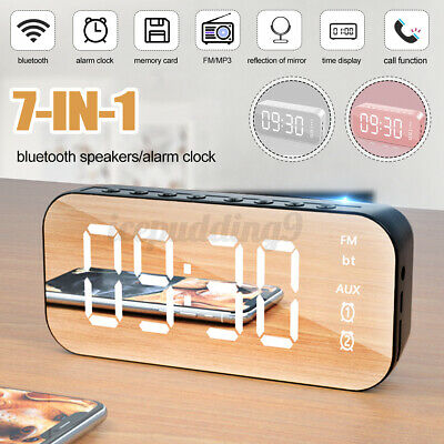 AU17.99 • Buy 7in1 Bluetooth LED Alarm Clock Mirror Digital Wireless Speaker MP3 FM Radio Gift