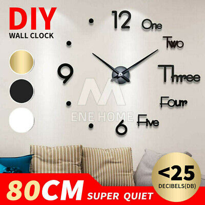 AU16.95 • Buy 3D Wall Clock Acrylic Modern DIY Mirror Surface Sticker Home Office Decor