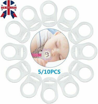 £3.29 • Buy 5/10PCS Silicone Button Baby Ring Dummy Pacifier Holder Clips Adapter Clear