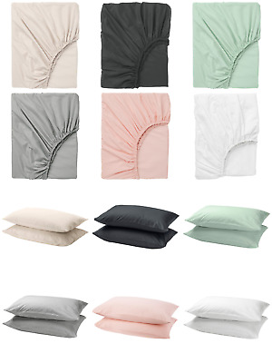 IKEA Dvala Fitted Sheet & Pack Of 2 Pillowcases 100% Cotton Various Sizes Colour • 21.99£
