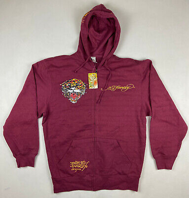 £70.82 • Buy Ed Hardy By Christian Audigier Red Burgundy Zip Hoodie Tiger Patch Size XL