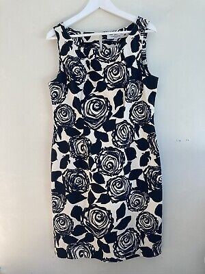 AU62.52 • Buy LK Bennett Black Cream Floral Sleeveless Knee Length Pencil Dress UK14 EU42 VGC