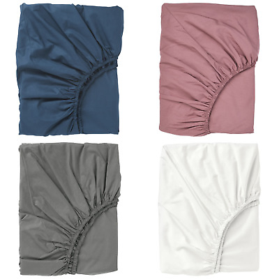 IKEA Ullvide Fitted Sheet Soft Bedding Cotton Lyocell Various Colours Sizes • 19.99£
