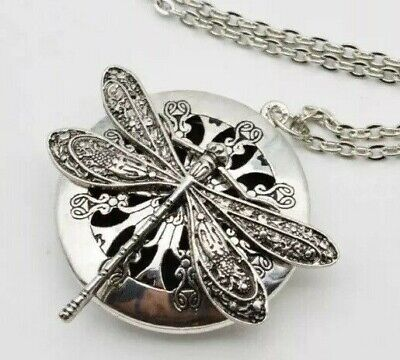 £9.45 • Buy Dragonfly Pendant Necklace Essential Oil Diffuser Perfume Locket Aromatherapy