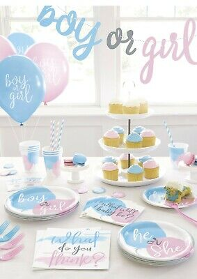 £2.99 • Buy NEW Gender Reveal PARTY Girl Or Boy? Baby Shower Balloons Tableware Ideas