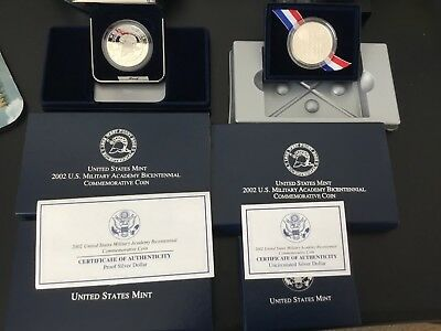 $150 • Buy 2002 US Military Academy West Point Bicentennial Commem TWO COINS BU & PROOF