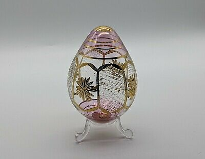 £12.99 • Buy Pink & Clear Glass Egg, Hand Blown & Gilded Glass Egg With Stand, Easter Gift