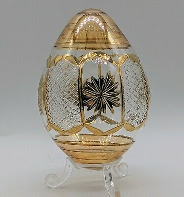 £12.99 • Buy Yellow & Clear Glass Egg, Hand Blown & Gilded Glass Egg With Stand, Easter Gift