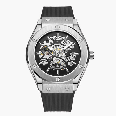 £27.99 • Buy Exec Men's Automatic Watch 45mm Silicone Strap Mechanical Skeleton Design