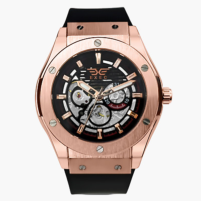 £27.99 • Buy Exec Men's Automatic Watch 45mm Silicone Strap Mechanical Skeleton Rose Gold