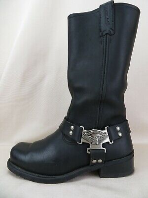 $ CDN76.17 • Buy Harley Davidson Black Leather Motorcycle Eagle Harness Pull On Boots Men's US 7