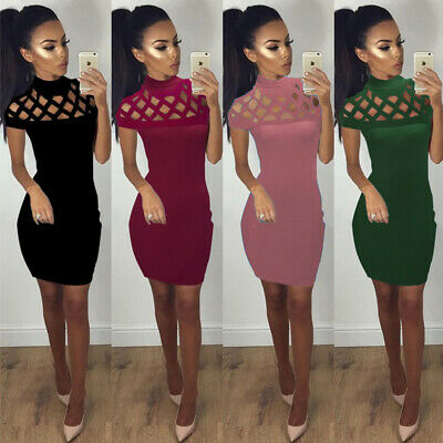 £5.99 • Buy New Womens Ladies Laser Cutout Sexy Bodycon Caged Sleeve Mini Dress Size 6-14