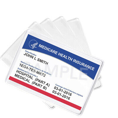 $5.99 • Buy 5 Pack - Medicare Card Holder Protector Sleeves - Clear Vinyl Credit Card Covers
