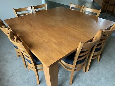 AU450 • Buy Dining Suite 1.5m X 1.5m Solid Timber Table With 8 Chairs & Matching Bar Stools