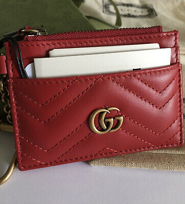 AU479.90 • Buy Authentic Gucci Red Leather Marmont Card Case Wallet New Dust Bag, Box & Receipt