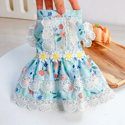 Daisy Lace Cat Puppy Dog Dresses Summer Girl Pet Clothes Costumes XS-XL Supplies • 11.23£