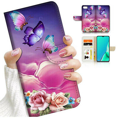 AU12.99 • Buy ( For Oppo A57 ) Wallet Flip Case Cover PB24213 Butterfly Flower