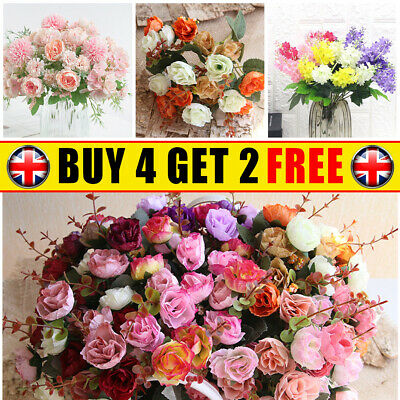 £3.89 • Buy Artificial Silk Peony Fake Flowers Bunch Bouquet Home Wedding Party Garden Decor