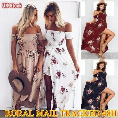 £12.69 • Buy Womens Floral Maxi Long Dress Ladies Off The Shoulder Summer Holiday Sundress UK