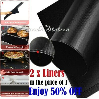 £3.99 • Buy 2 X BBQ Grill Mat Non-Stick Oven Liners Barbecue Baking Sheet Baking Tray Heavy