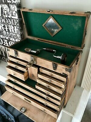 $745 • Buy Antique Oak Chest 11 Drawer Carpenter Tool Chest Machinist Mechanic With Tools