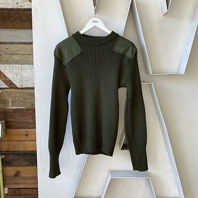 $32 • Buy Vintage 80's Knitted Wool Olive Green US Marines Army Military Sweater - Large