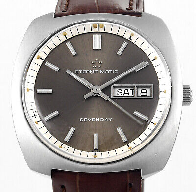 Rare ETERNA MATIC Sevenday Auto Day Date All Swiss Made Vintage Mens Wrist Watch • 333.77£