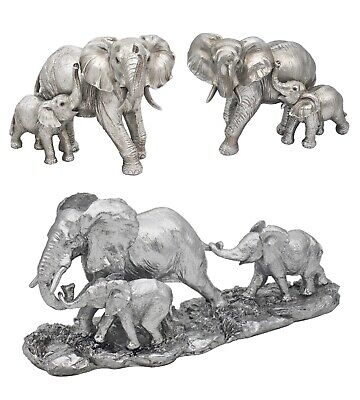 £24.97 • Buy The Leonardo Collection Reflections Silver Elephant And Calf Figurines