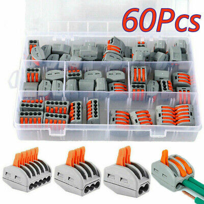 £11.93 • Buy 60Pcs Wago Type Electrical Connectors Wire Block Clamp Terminal Cable Reusable