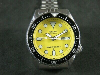 $ CDN344.63 • Buy SEIKO SKX013 Mod NH36 Cool Yellow Dial Water Proof Tested Jr. Size A1 Condition
