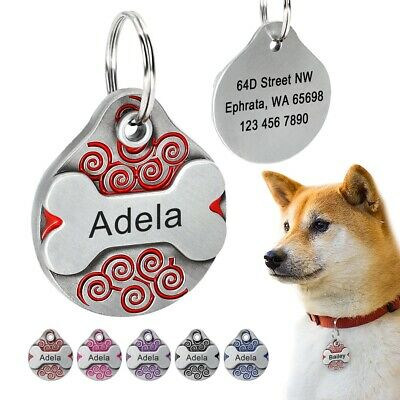 £4.19 • Buy  Personalised  ENGRAVING Dog ID Cat ID Name Bling Tag Puppy Pet ID Tags UK
