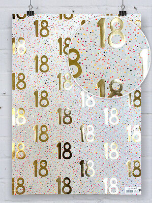 £7.99 • Buy 18th Birthday Gift Wrap Gold Foil Paper Salad Spotty Eighteenth Wrapping Paper