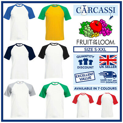 £5.75 • Buy Mens Baseball Top T-Shirt Fruit Of The Loom Contrast Tees White Red Size S-XXL