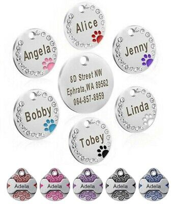 £3.99 • Buy  Personalised ENGRAVING Dog ID Cat ID Name Bling Tag Puppy Pet ID Tags UK