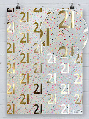 £4.50 • Buy 21st Birthday Gift Wrap Gold Foil Paper Salad Spotty Twentyfirst Wrapping Paper