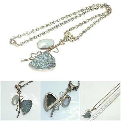 $70.50 • Buy Sterling Silver Druzy Drusy & Mabe Pearl Pendant Sterling Silver Chain Necklace