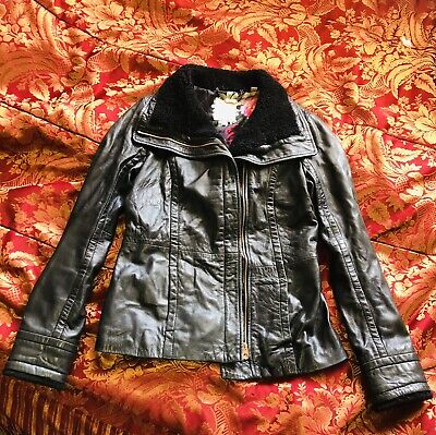 AU65 • Buy Ted Baker Black Leather Jacket With Shearling Trim Size 8