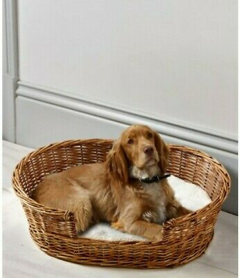 £39 • Buy Next Brown Wicker Dog Pet Bed With Borg Cushion 18x65cm
