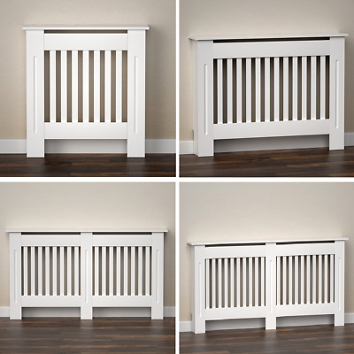 £29.99 • Buy Radiator Cover Heater Cabinet Slatted Worktop Painted MDF White Wood Grill Shelf