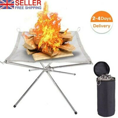 £12.99 • Buy Portable Mesh Fire Pit Folding Fire Pit Bonfire Stand For BBQ Outdoor Camping-UK