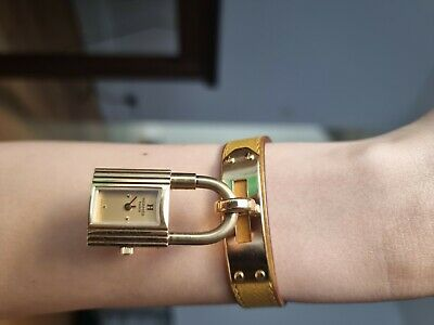 £350 • Buy Authentic Hermès Kelly Watch, 18K Yellow Gold-Plated & Stainless Steel
