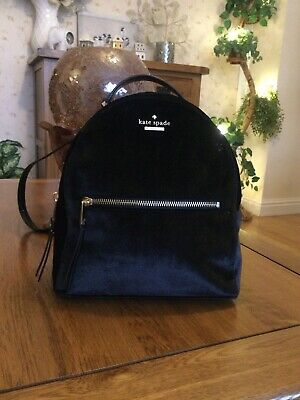$ CDN155.55 • Buy 100% Authentic Kate Spade New York Black Velvet & Leather Small Backpack Bag