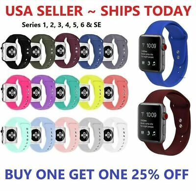 $ CDN6.03 • Buy Silicone Strap Band For Apple Watch Sports Series 6 5 4 3 2 1 SE 38/40/42/44mm