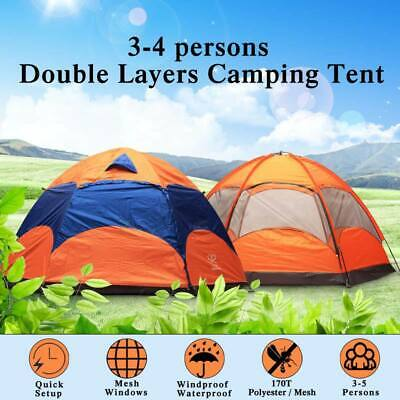 AU118.21 • Buy 3-5 Person Man Family Outdoor Tent 2 Layer Hiking Camping Group Tent