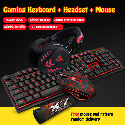 AU77.65 • Buy Gaming Backligh Keyboard And Mouse Set W/Headset USB Optical Wired Computer PC