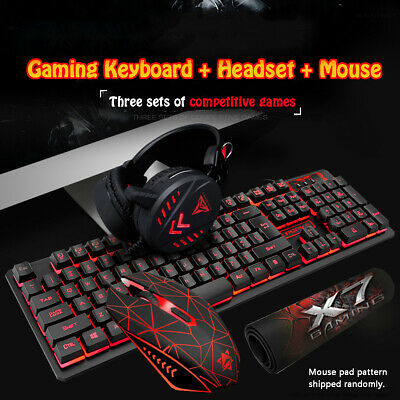 AU63.25 • Buy Gaming Keyboard Mechanical Keyboard And Wired Mouse Headset Three-piece Se