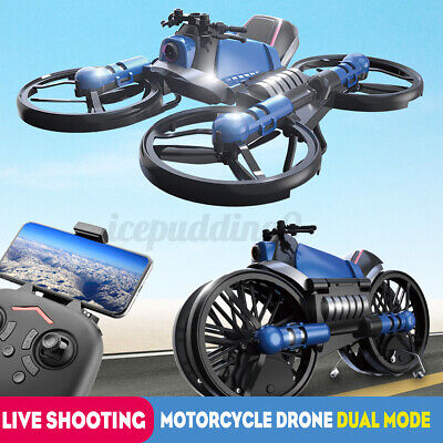 $ CDN82.68 • Buy 2in1 RC Folding Deformable Motorcycle Drone Quadcopter HD Camera 4-Axis Vehicles