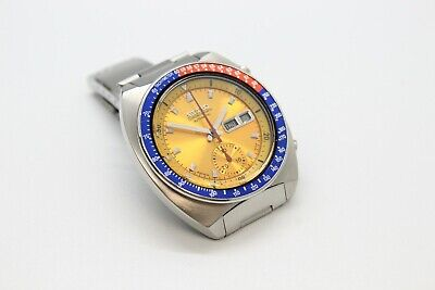 $ CDN1091.82 • Buy Seiko Pogue 6139-6002 Gold Yellow No Mark  Dial Full Length H-links Pepsi Bezel